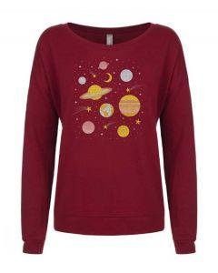 Ladies Glitter Solar System Sweatshirt