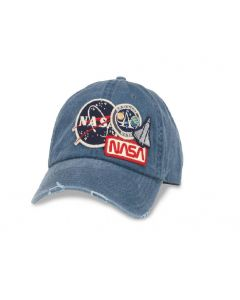 NASA Patch Distressed Denim Cap
