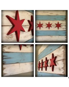 Rustic Wooden Chicago Flag