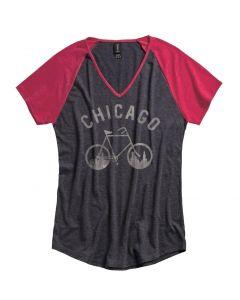 Ladies Chicago Skyline Bicycle Raglan Shirt