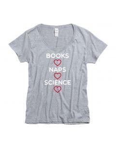 Ladies Heart Books Naps Science Scoop Neck
